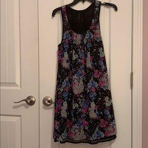 Black sleeveless reversible floral print dress